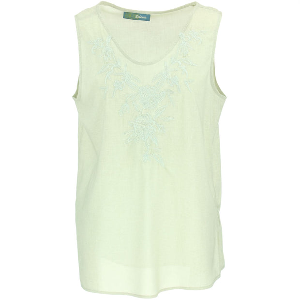 Embroidered Sleeveless Top - Sand