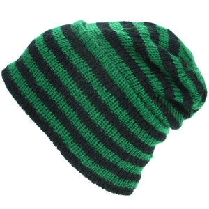 Wool Knit Ridge Beanie Hat with Fleece Lining - Green & Black