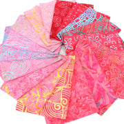 Cotton Batik Fat Quarter Pre Cut Fabric Bundle - Pinks & Reds