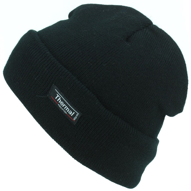 Fine Knit Beanie Hat - Black