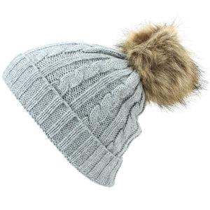 Childrens Cable Knit Beanie Hat with Faux Fur Bobble and Turn-up - Grey