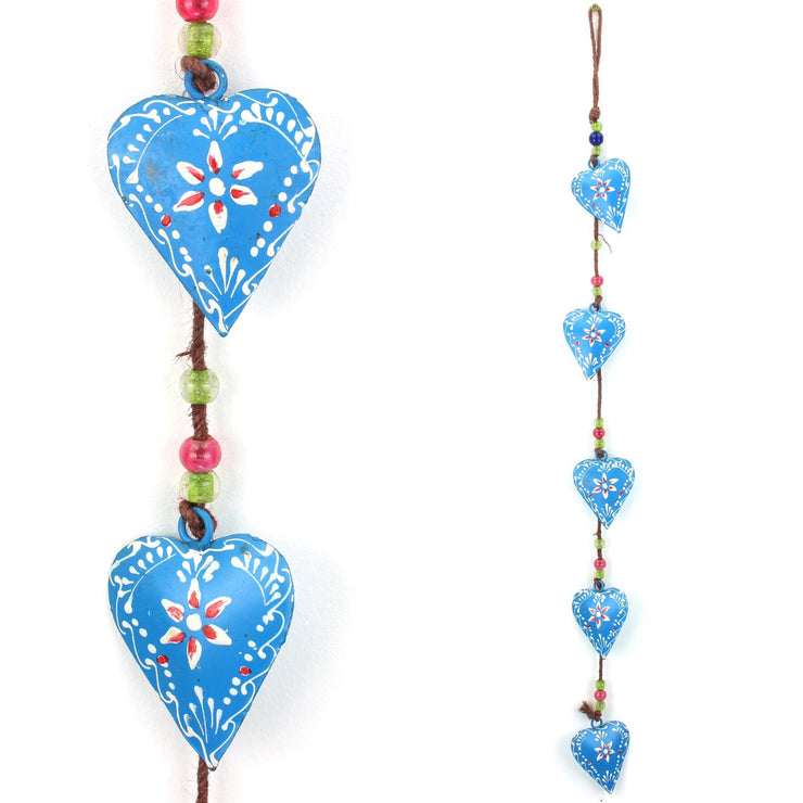 Hanging Mobile Decoration String of Hearts - Blue - Brown String