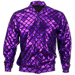 Unisex Fish Scale Bomber Jacket - Purple