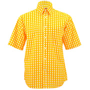 Regular Fit Short Sleeve Shirt - Gingham Check - Yellow