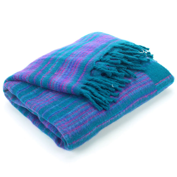 Vegan Wool Shawl Blanket - Stripe - Green Purple