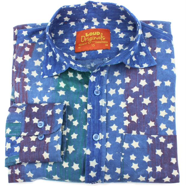 Regular Fit Long Sleeve Shirt - Blue Rainbow Wash with White Stars