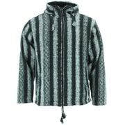 Fleece Lined Brushed Cotton Hooded Jacket Cardigan - Black & White