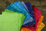 Cotton Batik Pre Cut Fabric Bundles - Charm Pack - Rainbow