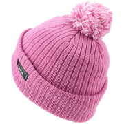 Childrens Beanie Hat with Turn-up and 2-Tone Bobble - Pink