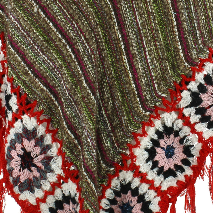Granny Squares Crochet Poncho Long - Black Multi/Red