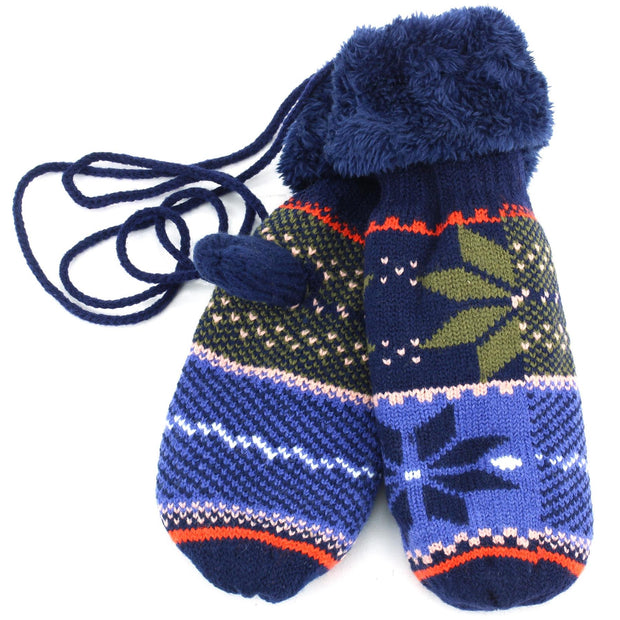 Thick Lining Snowflake Mittens - Navy