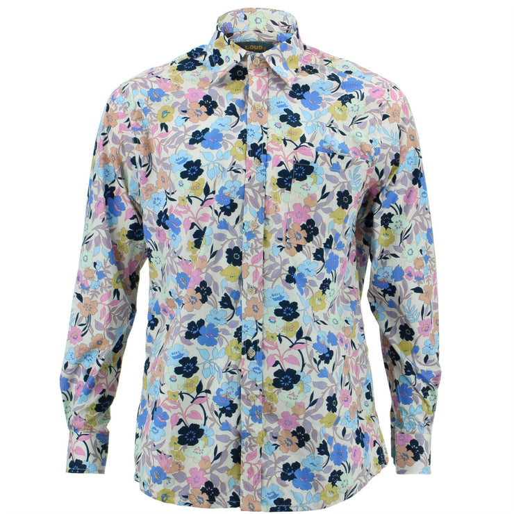 Regular Fit Long Sleeve Shirt - Minimalist Floral