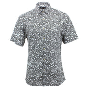 Slim Fit Short Sleeve Shirt - Dark Grey Abstract Circles