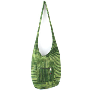 Striped Chenille Sling Shoulder Bag - Green