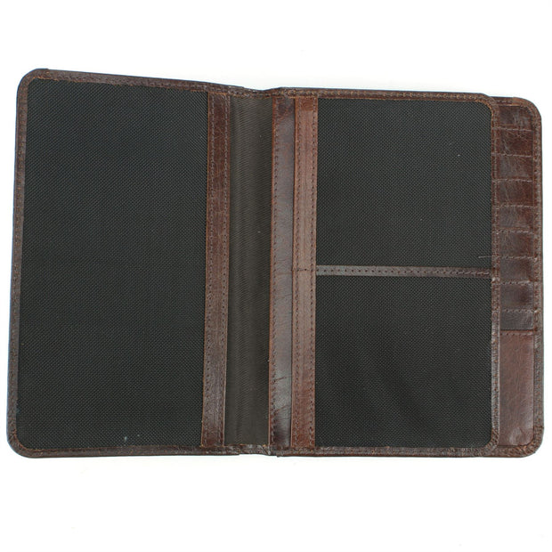 Real Leather Passport Wallet - Brown