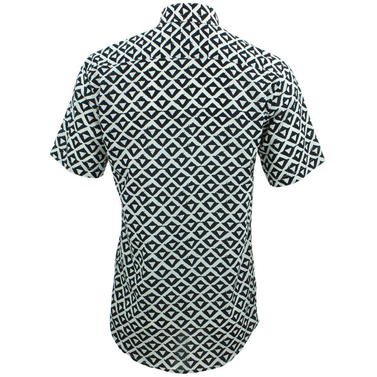 Tailored Fit Short Sleeve Shirt - Block Print - Triangles