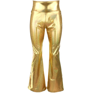 Shiny Metallic Flares Trousers - Gold