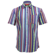 Tailored Fit Short Sleeve Shirt - Multi-coloured Aztec