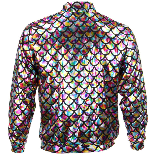 Unisex Fish Scale Bomber Jacket - Rainbow