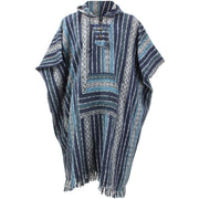 Brushed Cotton Long Hooded Poncho - Blue