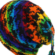 Wool Knit Tassel Beanie Hat - Rainbow Houndstooth