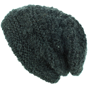 Wool Knit Beanie Hat - Charcoal Grey