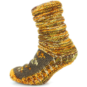 Chunky Wool Knit Slipper Socks - Rusty Brown
