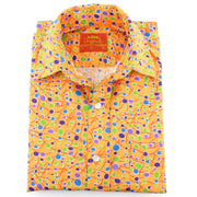 Tailored Fit Short Sleeve Shirt - Orange & Multi Dots