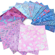 Cotton Batik Charm Pack Pre Cut Fabric Bundle - Pinks to Blues