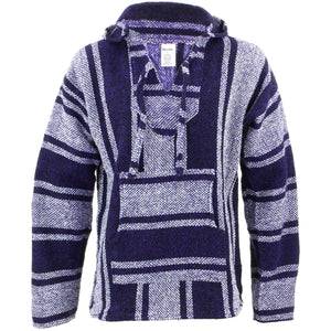 Mexican Baja Jerga Hoody - Purple & Natural