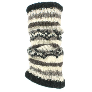 Chunky Wool Knit Leg Warmers - Grey