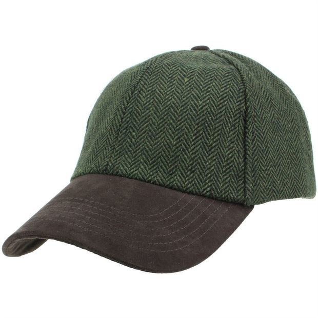 Wool Tweed Herringbone Baseball Cap - Green