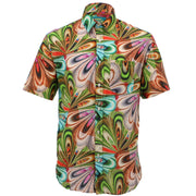 Regular Fit Short Sleeve Shirt - Psychedelic 70s Swirls
