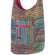 Striped Chenille Sling Shoulder Bag - Multi - Pink Lining
