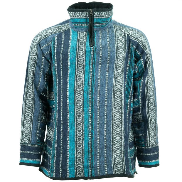 Fleece Lined Brushed Cotton Jacket Cardigan - Blue