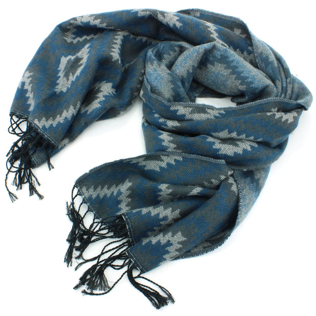 Aztec Pattern Soft Scarf - Blue & Green