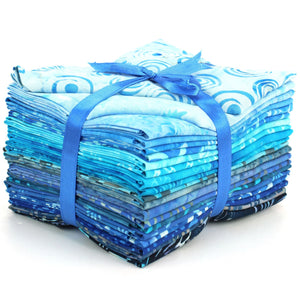 Cotton Batik Pre Cut Fabric Bundles - Fat Quarter - Blues