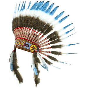 Native Amercian Chief Headdress - Blue with Black Spots (Brown Fur)