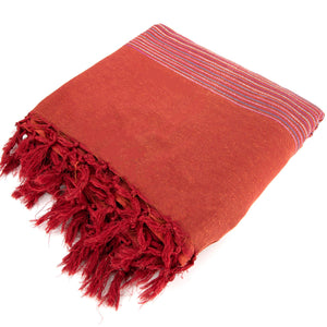 Striped Cotton Blanket With Tassel Edging - Burnt Orange