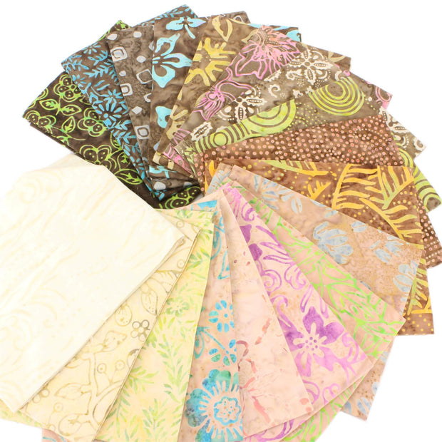 Cotton Batik Fat Quarter Pre Cut Fabric Bundle - Browns
