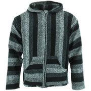 Mexican Baja Jerga Zip Hoody Jacket - Shades of Grey