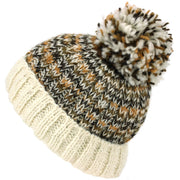 Wool Knit Beanie Bobble Hat - Cream Browns