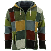 Wool Knit Patchwork Hooded Jacket - Mustard
