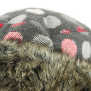 Spotty Polka Dot Hat with Faux Fur cuff - Dark Grey
