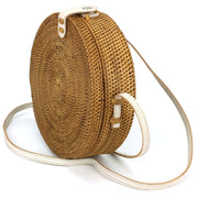 Loud Elephant Handwoven Round Rattan Bag - White Snap