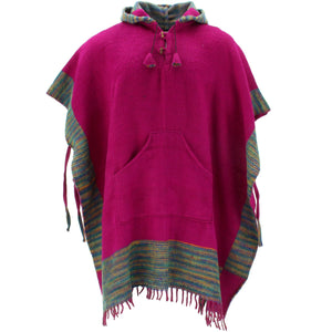 Soft Vegan Wool Hooded Tibet Poncho - Plum Multi