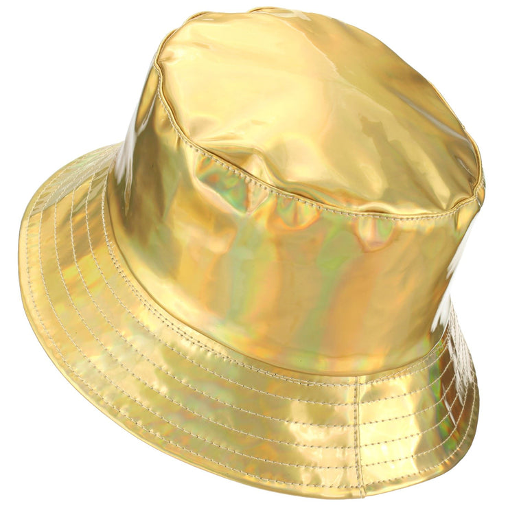Shiny Metallic Bucket Hat - Gold