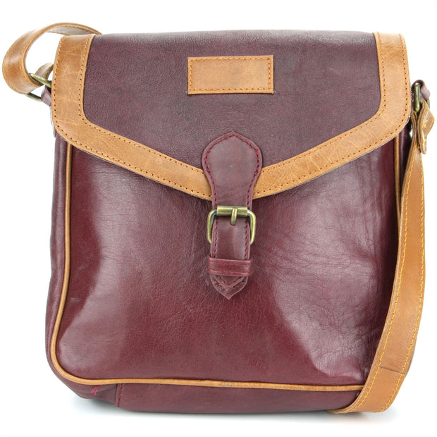 Real Leather Cross Body Messenger Shoulder Bag - Red & Brown