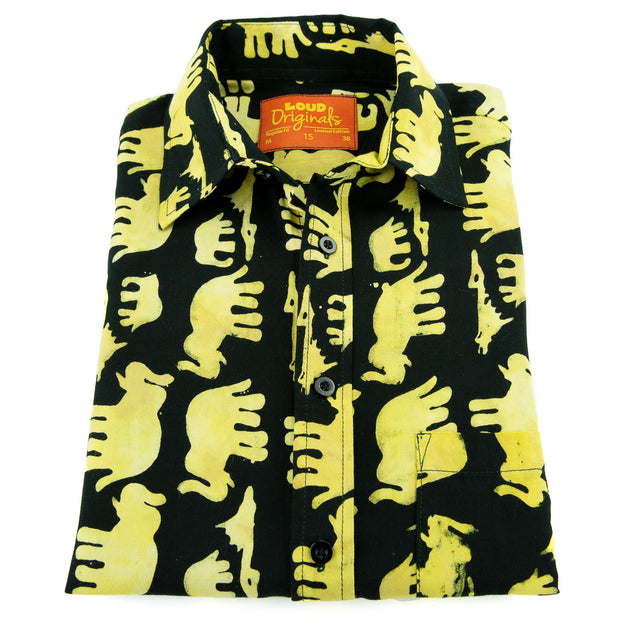 Regular Fit Short Sleeve Shirt - Herd of Elephants - Black
