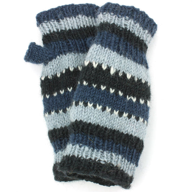 Wool Knit Arm Warmer - Stripe - Blue Black